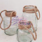 Glazen potjes met touw